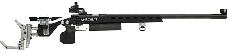 Figure 10 Anschutz Olympic rifle with fully adjustable stock. Recoil control isn't given much thought on this .22lr. This stock is optimized for offhand unsupported accuracy.